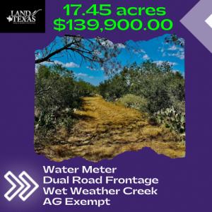 Unrestricted 17.45 Acres w/ Wet Weather Creek